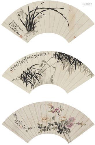 余燧、余晉、鎮顛  花卉三幀 設色紙本 鏡心