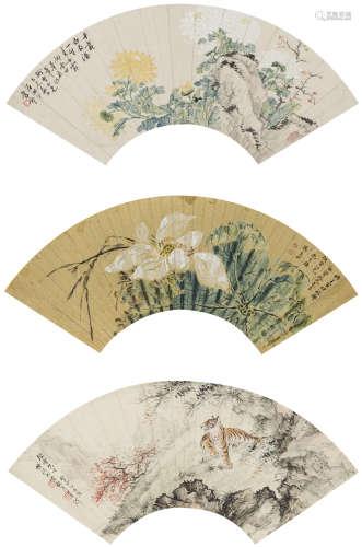 張彥、李墅、素秋  花卉三幀 設色紙本 鏡心