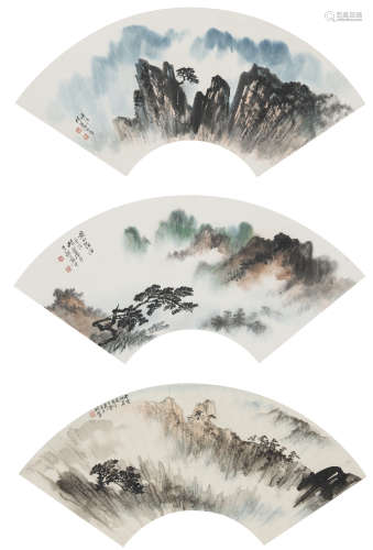 胡若思 (1916﹣2004) 山水三幀 設色紙本 鏡心