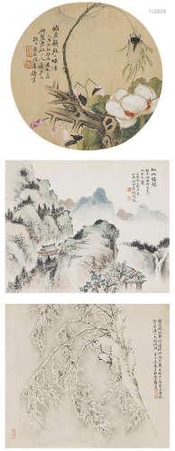 吳鴻勳(清)、唐和、李鑄  花卉、山水三幀 設色紙本 鏡心