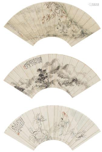 夏瑚、吳璜、諸涵  山水人物三幀 設色紙本 鏡心