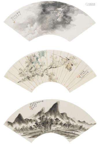 曹君健、韻莊、莊耀孚  山水、花鳥三幀 設色紙本、水墨紙本 鏡心
