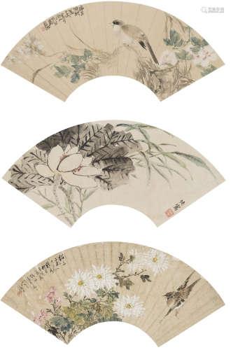 陸恢、趙如虎等  花卉三幀 設色紙本 鏡心