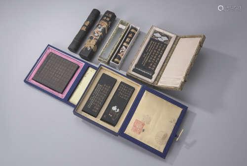 清 松煙墨6塊(3盒、散墨3塊)
