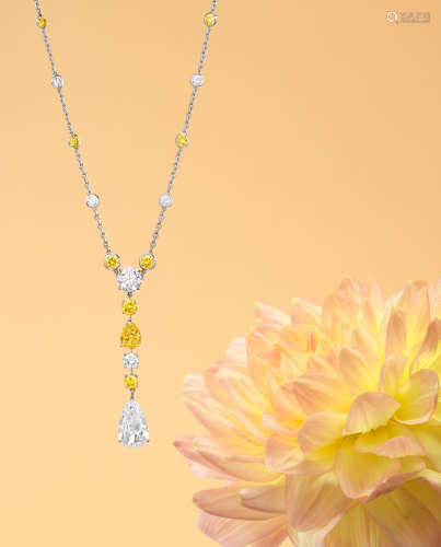 An Exceptional Diamond and Fancy Coloured Diamond Pendant Necklace, by Cartier