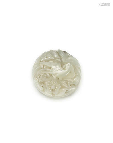 Song/Jin Dynasty A pale green jade reticulated 'bird and flowers' plaque