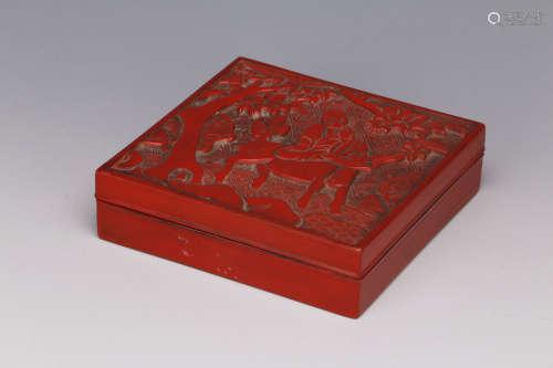 清 雕漆人物故事图盖盒