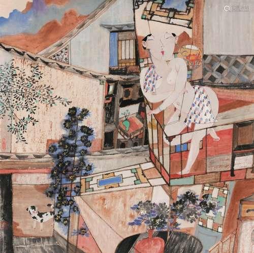 郎承文(b.1945) 日落黄昏 镜心 设色纸本
