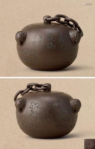 1989年制 鲍仲梅制、范曾书画 拨浪锤壶