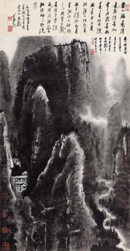 李可染(1907-1989) 1983年作 崇山烟岚图 立轴 水墨纸本