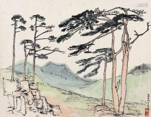 李可染(1907~1989) 黄山松 镜心 设色纸本