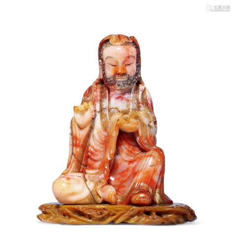 清早期 寿山石达摩像