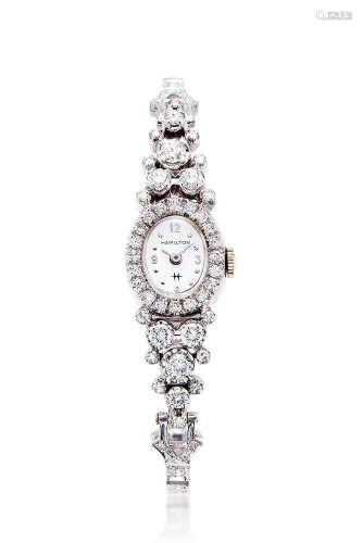 1960年 哈密尔顿 14K白金 女款手动上弦镶钻腕表