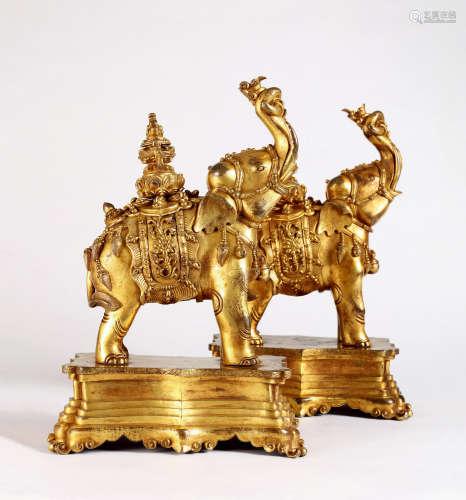 清18世纪 铜鎏金象宝 (一对)