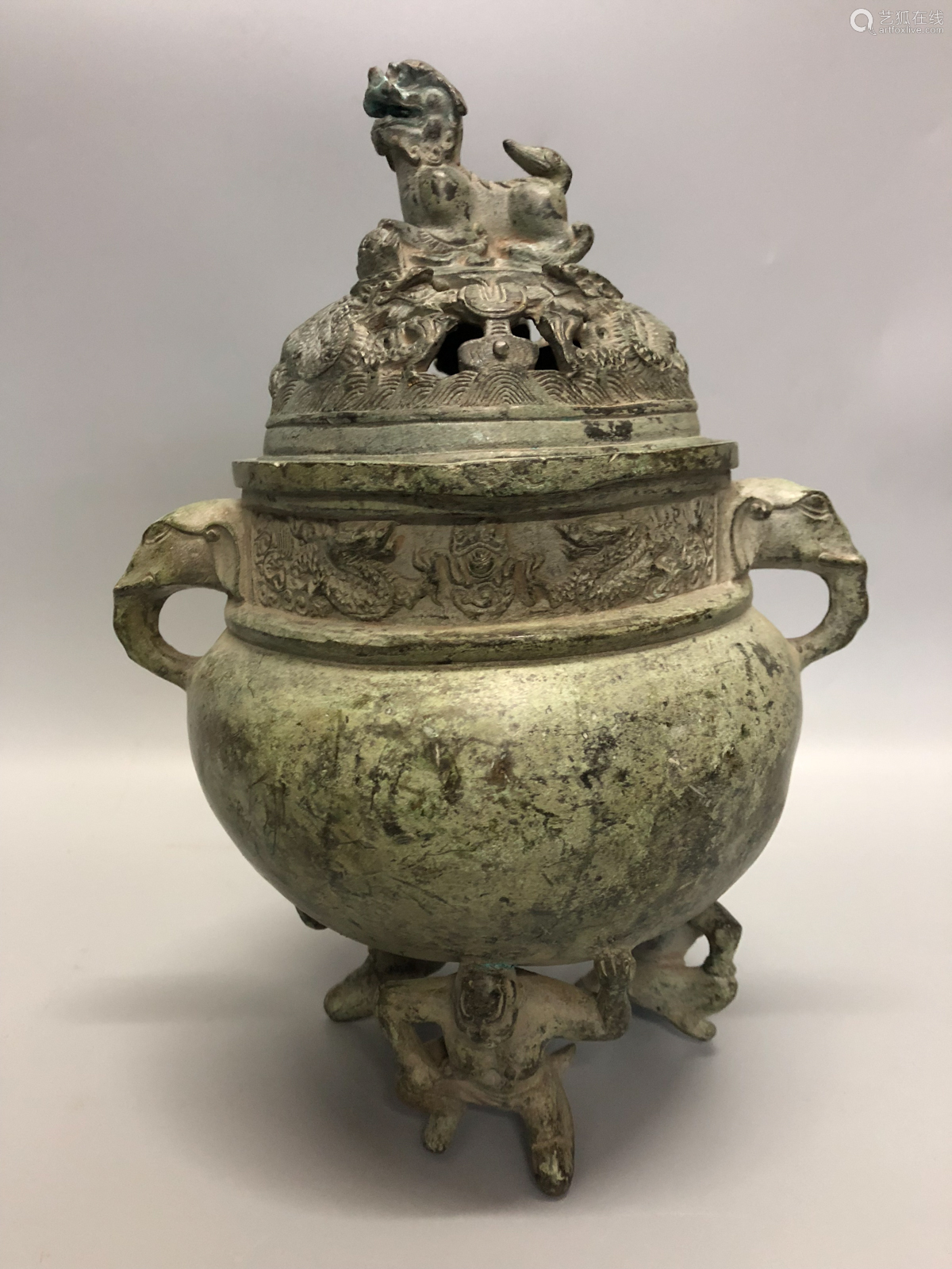 17TH-19TH CENTURY, A BRONZE CENSER, QING DYNASTY