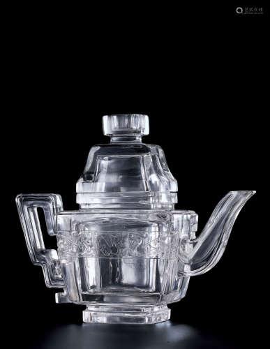 清乾隆 水晶雕螭龙纹四方茶壶