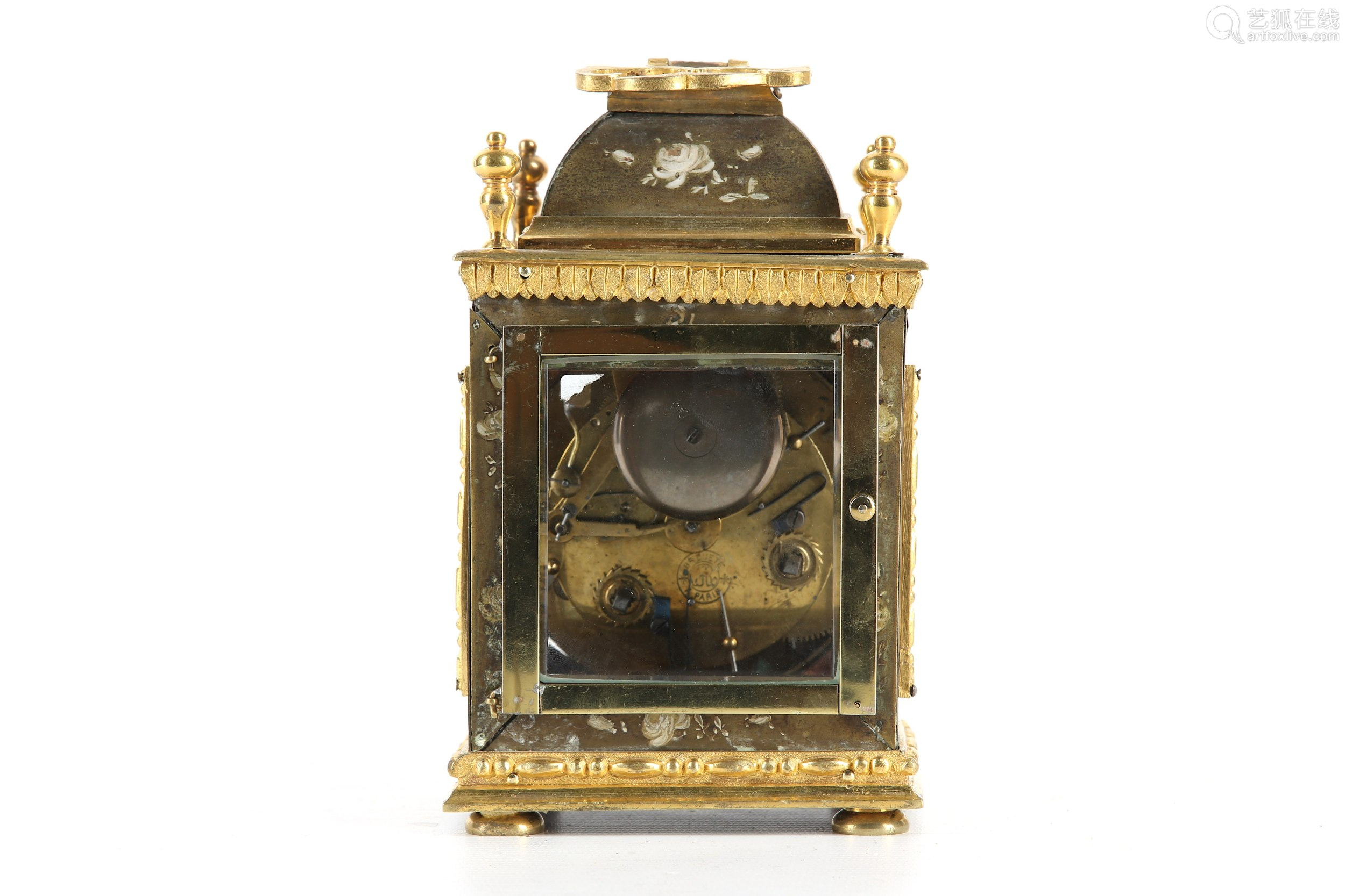 A 19TH CENTURY FRENCH PAINTED METAL, WOOD AND GILT BRONZE PENDULE D'OFFICIER CLOCK of rectangular