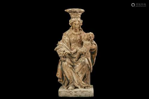 A 17TH CENTURY ITALIAN POLYCHROME LIMESTONE FIGURE OF THE MADONNA AND CHILD ENTHRONED the Virgin