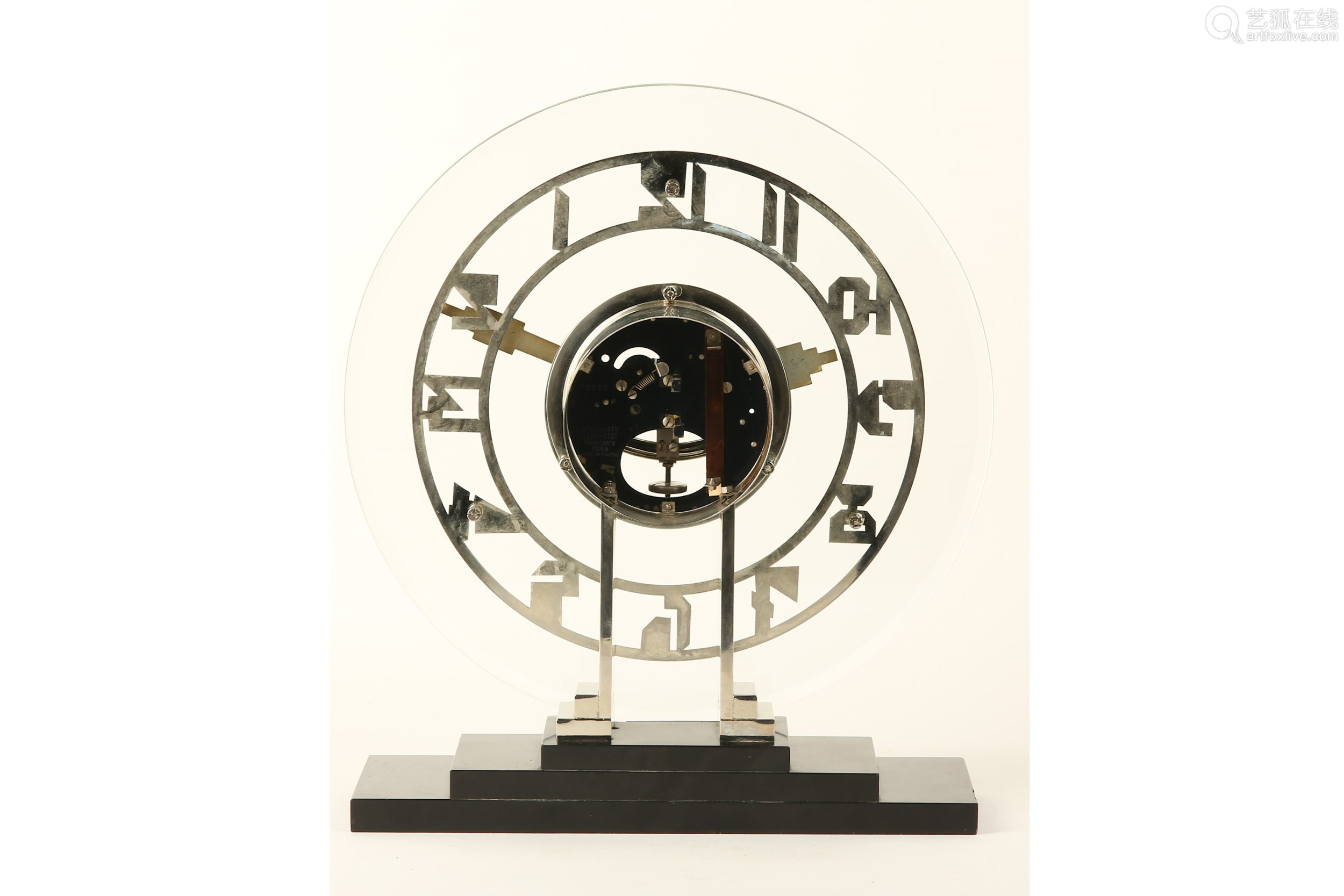 AN EARLY 20TH CENTURY ART DECO PERIOD GLASS AND CHROME ELECTRIC CLOCK BY LEON HATOT, PARIS (ATO),