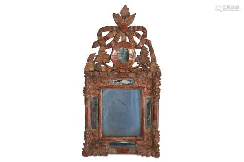 A SMALL 18TH CENTURY ITALIAN GILTWOOD WALL MIRROR of rectangular form with marginal plates,