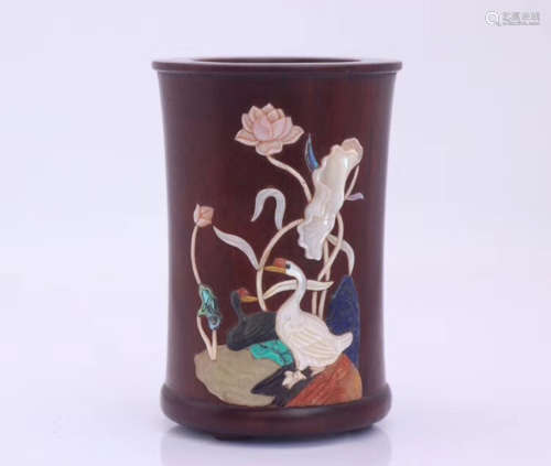 A ZITAN WOOD CARVED BRUSH POT