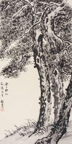 刘海栗(1896~1994) 1953年作 墨松 立轴 水墨纸本