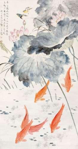 王伟(1885~1950) 鱼塘翠羽 立轴 设色纸本
