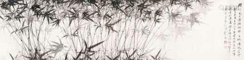 扆昌(1908~?) 墨竹 横幅 水墨纸本