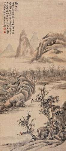 陆恢(1851~1920) 隔江山色 镜心 设色绢本