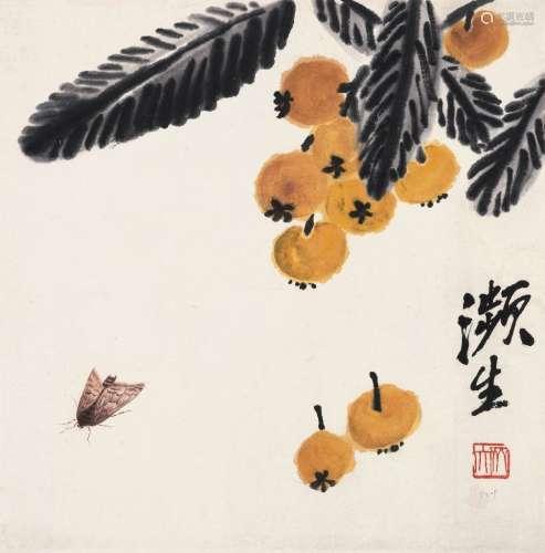 齐白石(1864~1957) 枇杷草虫 立轴 设色纸本