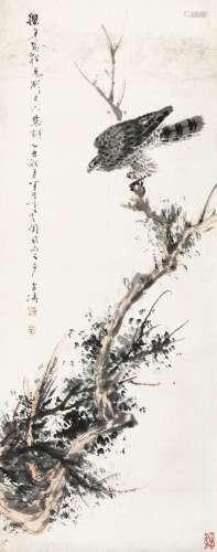 王雪涛(1903~1982) 1945年作 侧目 立轴 设色纸本