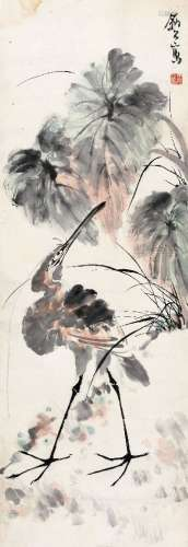 李苦禅(1899~1983) 芋叶水禽 镜心 设色纸本