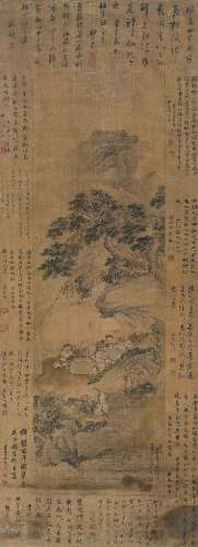 陈星(清) 1662年作 八仙祝寿 立轴 设色绢本