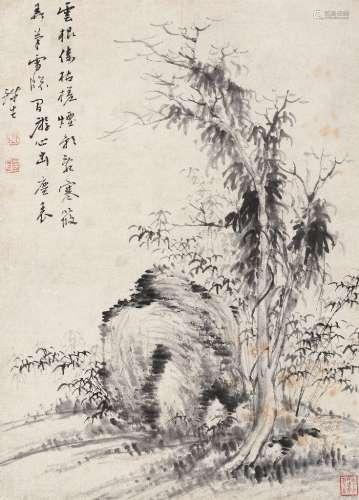 奚冈(1746~1803) 枯木竹石图 立轴 水墨纸本