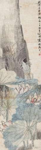 任伯年(1840~1896) 1872年作 荷花 立轴 设色纸本