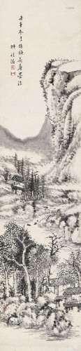 王学浩(1754~1832) 1822年作 仿梅花庵笔 立轴 水墨纸本