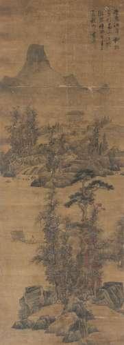 蓝瑛(1585~1664) 1633年作 江皋秋树 立轴 设色绢本