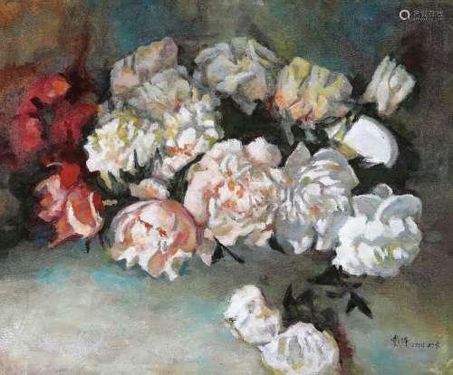 戴泽(B.1922) 2004年作 花卉 布面油画