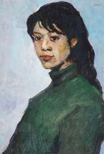 罗尔纯(1930~2016) 1980年代 绿衣女孩 纸本油画