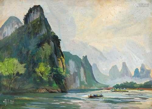 秦宣夫(1906~1998) 1984年作 兴平漓江晨渡 木板水粉
