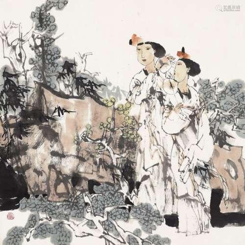 孔紫(b.1952) 2001年作 消夏图 纸本设色