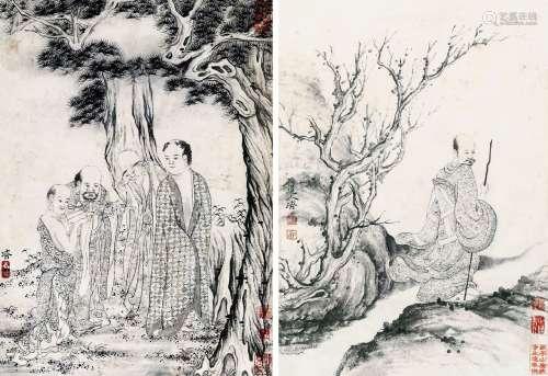 《石涛人物百开册页》瓷板画(四)