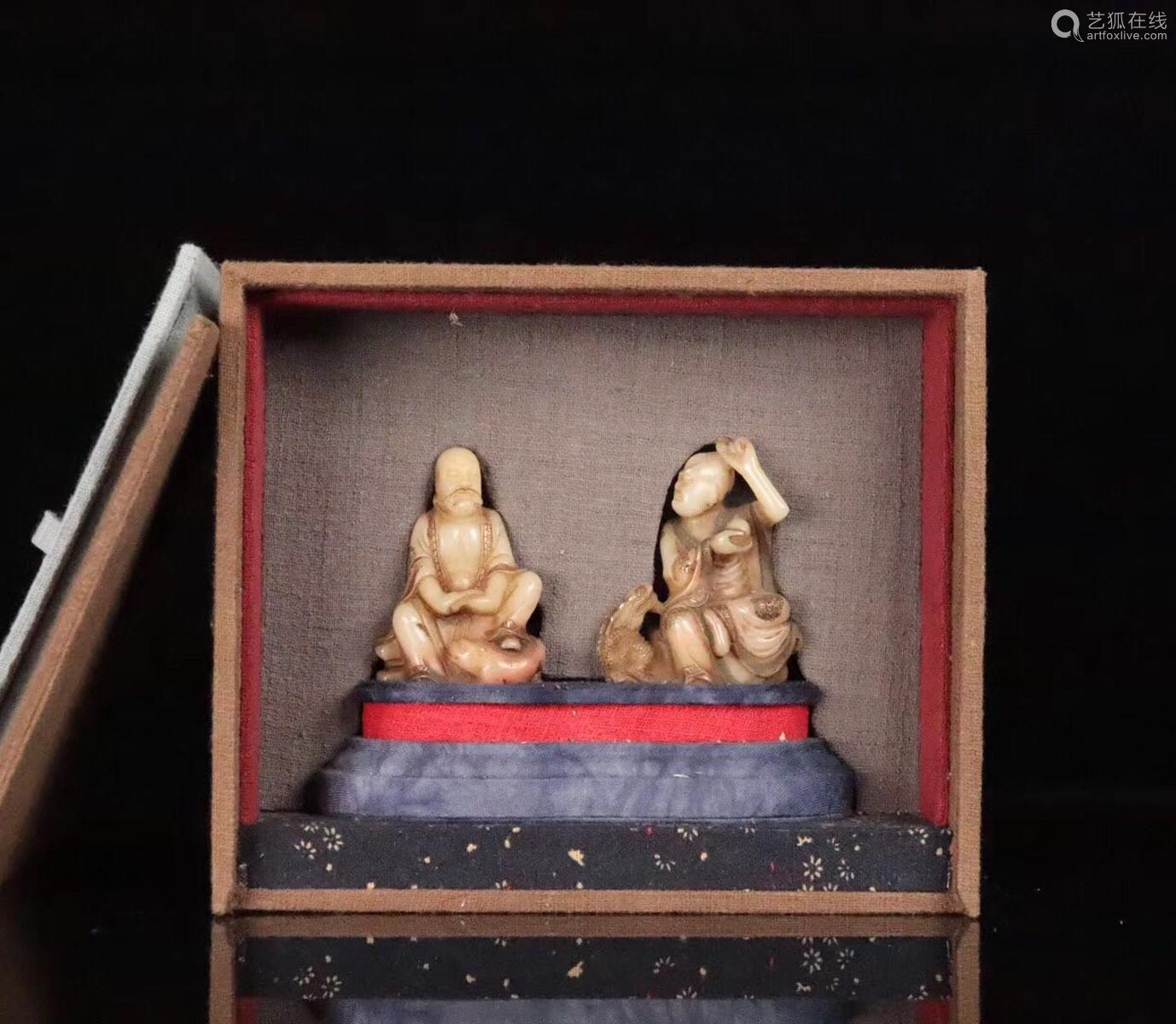 PAIR SHOUSHAN STONE XIANGLONGFUHU BUDDHA ORNAMENT