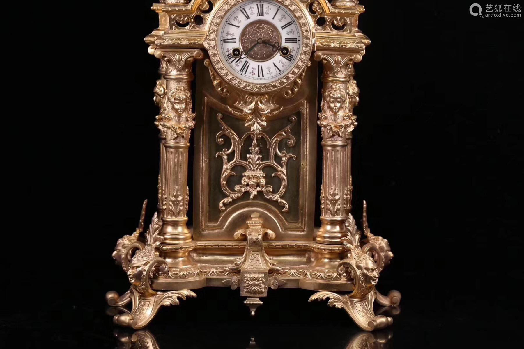 A CENTENNIAL GILT BRONZE TABLE CLOCK