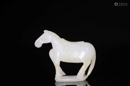A HORSE DESIGN HETIAN JADE ORNAMENT