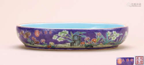 清 紫地粉彩花卉水仙盆