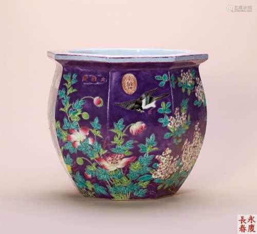 清 粉彩花鸟八方小缸