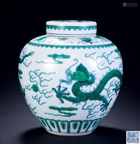 清 斗彩绿龙罐