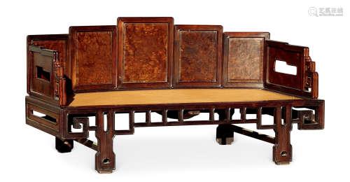 清 红木镶影木屏风床