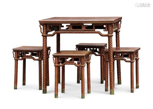 清 红木绳纹方桌凳一套